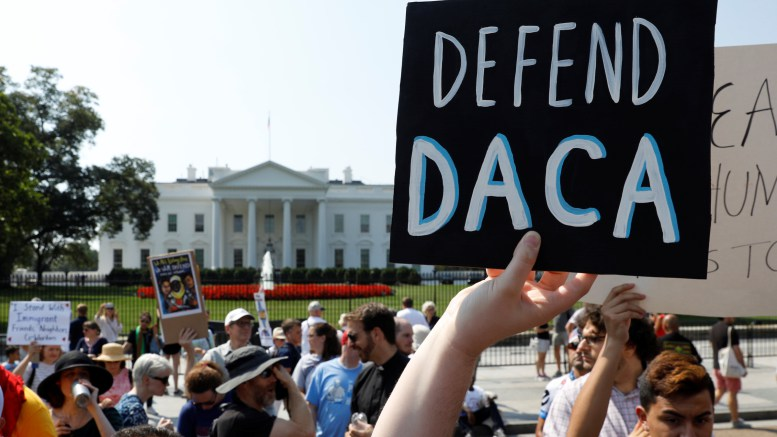Deferred Action for Childhood Arrivals supporters demonstrate near the White House. Attorney General Jeff Sessions announced Sept. 5 that the DACA program is