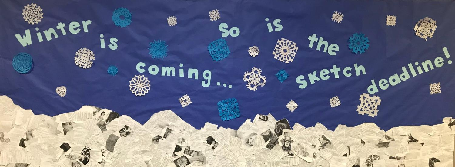 This bulletin board, outside the English Department office, reminds students to submit to The Sketch.