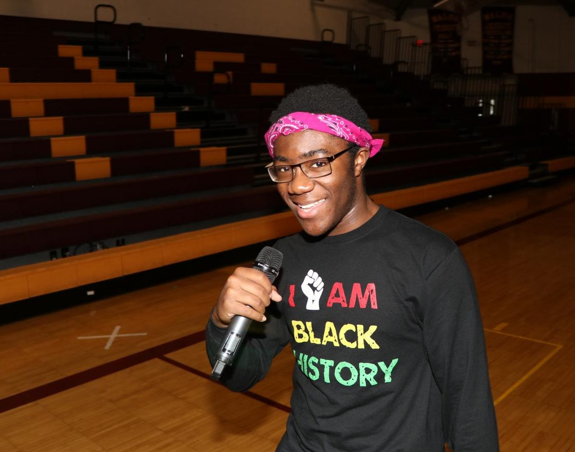 Dazzling the audience at this year's Black History Month assembly, senior Oscar Okechukwu performed a cover of Tupac's