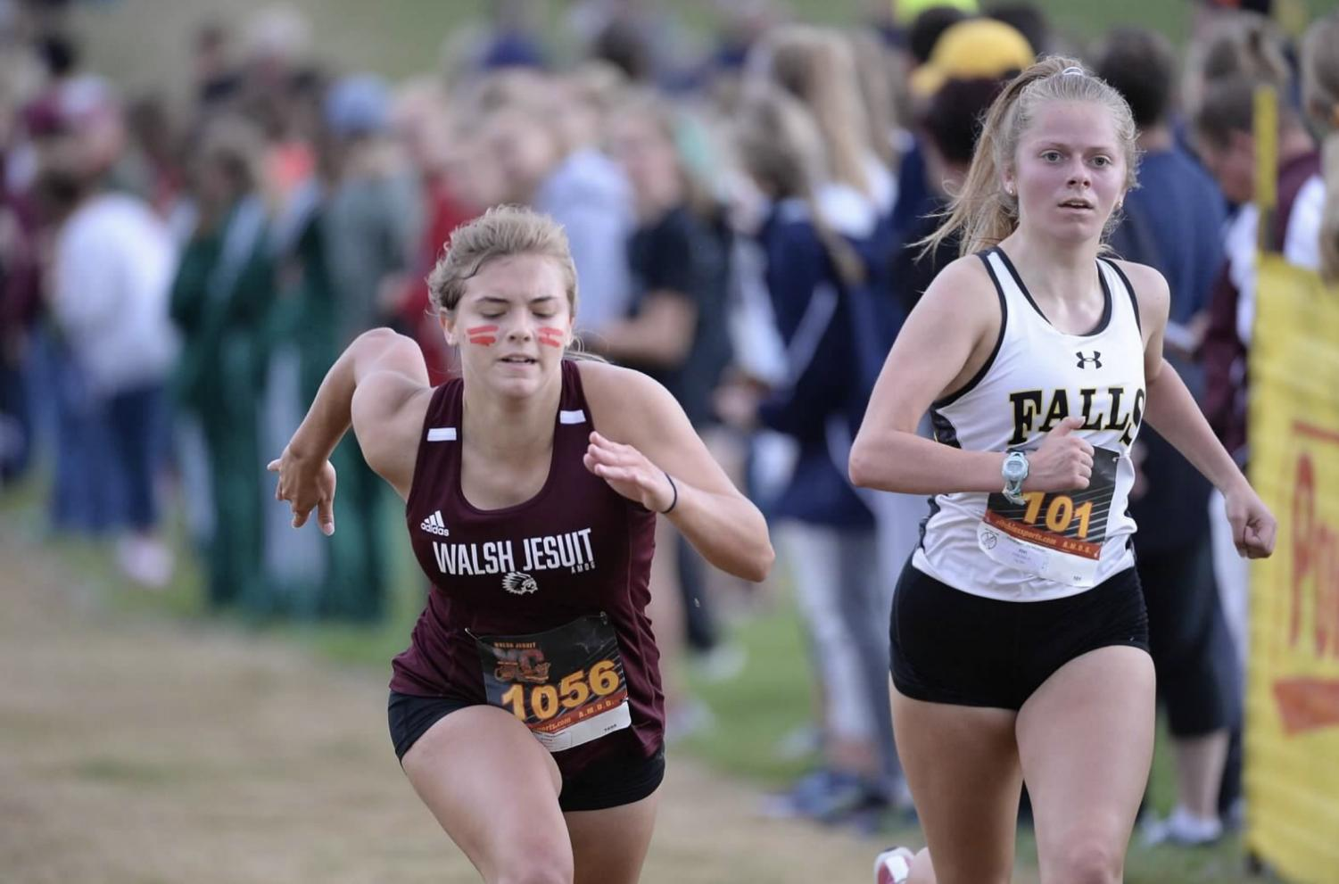 Junior Evie Sutkus sprints to the line during the Walsh Jesuit Pat Ritchie Invitational.
