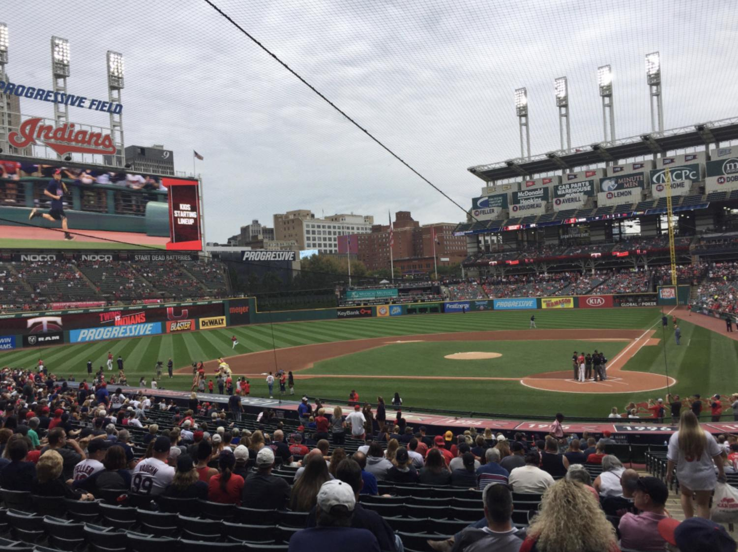 Fans fill Progressive Field minutes before game time.