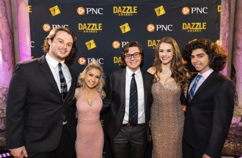 WJ seniors Jojo Radecky, Connor Cline, Margo Tipping, and Charlie Kadair posing at the Dazzle Awards red carpet.