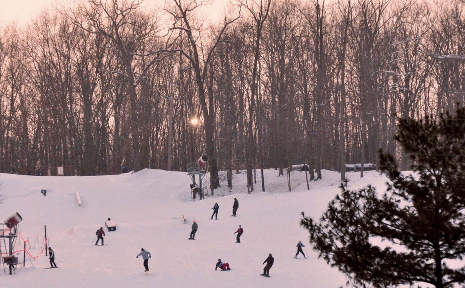 Skiers and snowboarders enjoy an afternoon of winter fun at nearby Boston Mills and Brandywine.