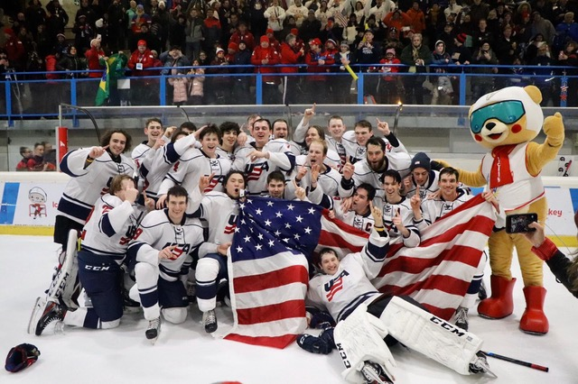 The+2019+Winter+Deaflympics+men%27s+hockey+gold+medal+team+poses+for+a+photo+after+their+victory+over+Canada.+