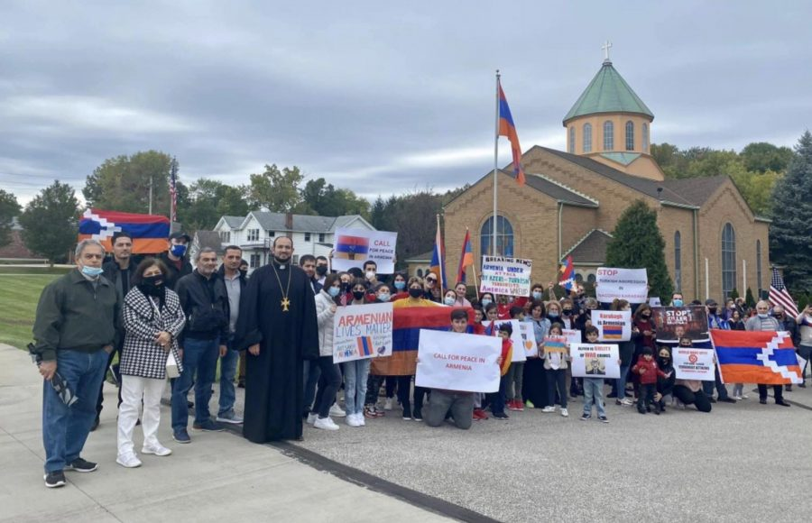 Part of the NE Ohio Armenian community demonstrating in November outside St. Gregory of Narek Armenian Church in Cleveland, OH.