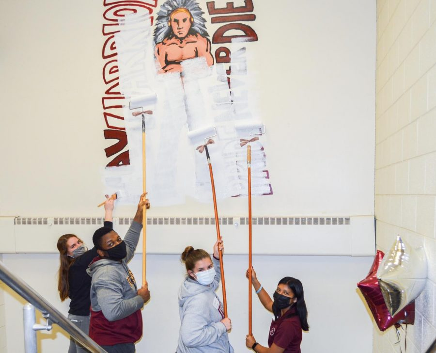 This mural was ceremoniously painted over on May 13th in a small event attended by school administrators and students.