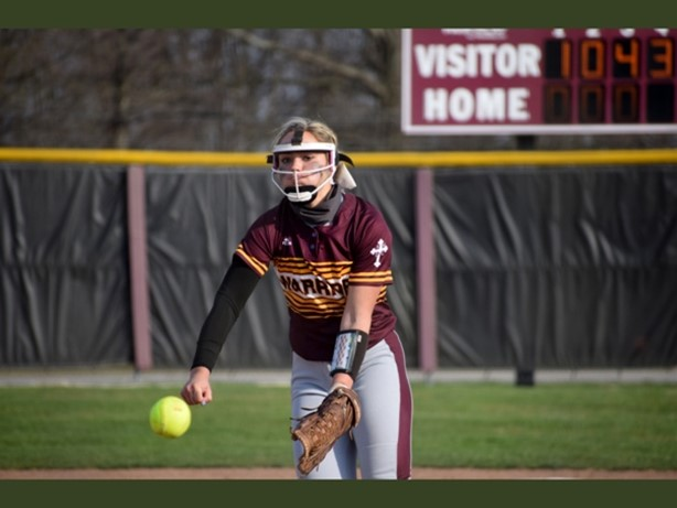 Freshman pitcher Natalie Susa against Stow. She earned 17 strikeouts and had her first high school career home run.