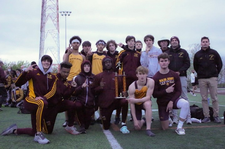 The men's track and field team placed 1st at the Crown Conference Meet on May 6. The conference includes Northeast Ohio Catholic high schools.